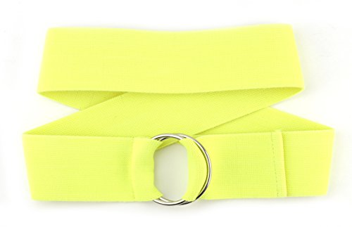 Fabulous Unisex Plain Canvas Stretch Elastic Belt w/Silver Metal Round Buckle (Neon Yellow) (Neon Yellow Belt compare prices)
