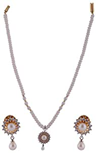 Krishna Pearls & Jewels White Gold Plated Pearl Chain Necklace Sets for Women   KPJ023 available at Amazon for Rs.4900