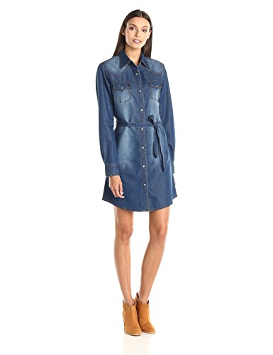 Wrangler Women's Long Sleeve Denim Shirt Dress, Dark Denim, Medium