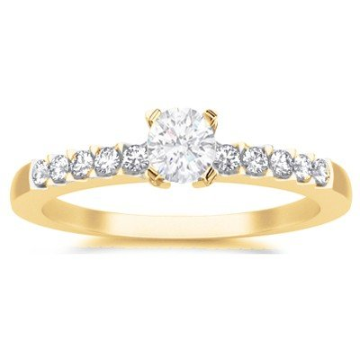 0.58 Carat Affordable Engagement Ring with Round cut Diamond on 14K Yellow gold