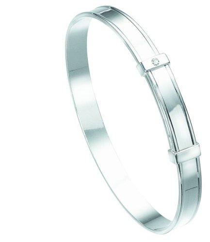 D for Diamond Sterling Silver B306 Girls Diamond Set Plain Expanding Bangle
