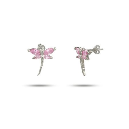 Sterling Silver Pink Cubic Zirconia Dragonfly Earrings