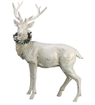 White Plaster and Glitter Majestic Standing Reindeer Figurine with Christmas Wreate on Neck - This reindeer will look awesome on a Christmas table!