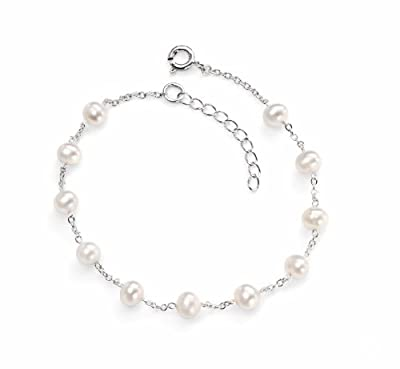Elements, Sterling Silver, Ladies, B4299W, White Pearl Bracelet Of Length 19cm + 3cm extender