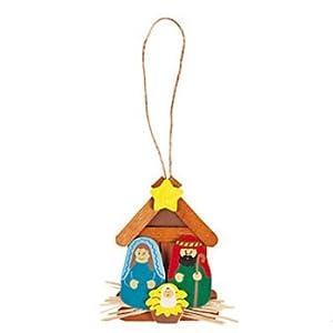 12 Wooden Nativity Ornament Craft Kits