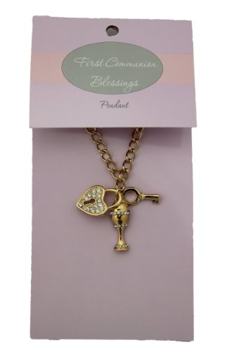 1st Communion Gold Tone Dangle Pendant with Key, Rhinestone Chalice, and Heart Shaped Lock on 18-inch Chain (PT184) - 1
