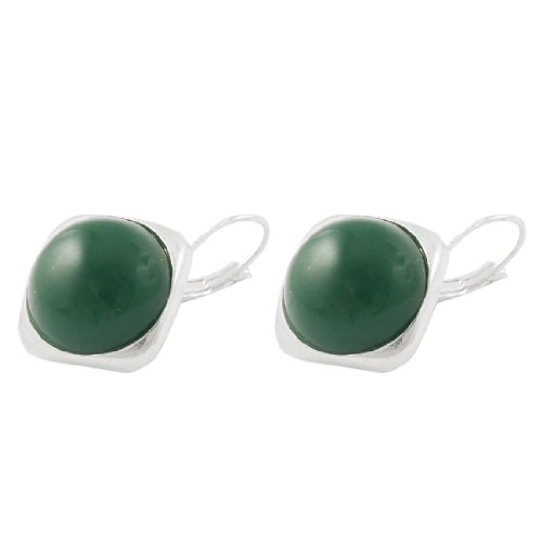 Rosallini Ear Decor Deep Green Rhombus Shaped Silver Tone Edge Earrings for Ladies