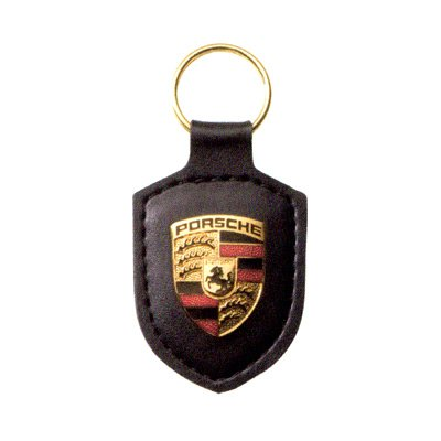 Porsche Crest Black Leather Key Chain