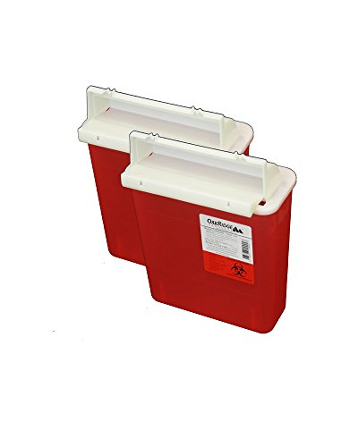 OakRidge Products Sharps and Biohazard Disposal Container with Mailbox Style Lid, 5 Quart Size (Pack of 2) (Biohazard Container Mail compare prices)