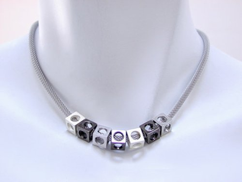 Multi Bead Necklace with Rhodium Mesh Strand and Rhodium, Silver, and Black Nickel Cubes