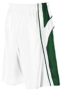 Buy Alleson 547P2 Adult Dazzle Basketball Shorts WH DG - WHITE DARK GREEN A2XL