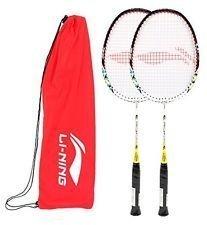 Li-Ning Q5 JR Basic Q series Badminton Racquet White/Red with Grip Pack of 2