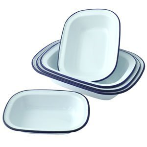 Falcon Enamel Oblong Pie Dishes - Set of 3 - 20cm, 22cm, 24cm.