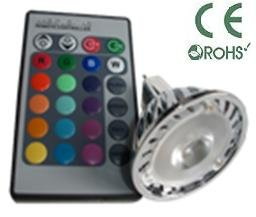 Glb Mr16 3 Watt Rgb Led Bulb Spotlight With Remote Control, 3-In-1Led Multi Color 16 Color Choices