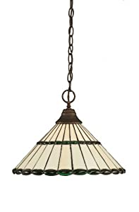 Toltec Lighting 10-BRZ-977 One-Light Chain Hung Pendant Bronze Finish with Honey Glass and Green Jewels Tiffany Glass, 16-Inch