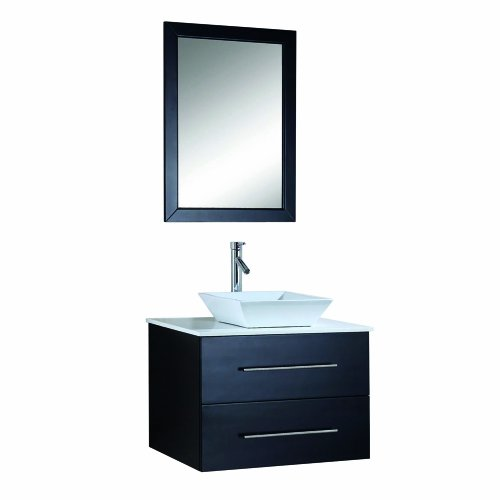Virtu USA MS-560-S-ES Marsala 30-Inch Wall-Mounted Single Sink Bathroom Vanity with White Stone Countertop, Faucet and Mirror, Espresso Finish