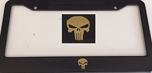 Punisher Style Skull - Automotive Black with Gold License Plate Frame - Skeleton (License Plate Frame Marvel compare prices)