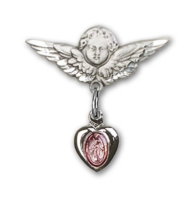 Sterling Silver Baby Badge with Pink Miraculous Charm and Angel w/Wings Badge Pin