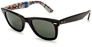 Ray-Ban RB2140 Original Wayfarer Sunglasses 50 mm,Black/Subway frame/Crystal Green lens