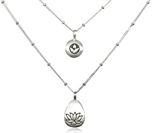 Satya Jewelry Silver Double Tiered Lotus Necklace