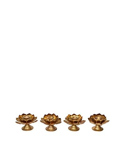 Uptown Down Set of 4 Brass Lotus Candleholders