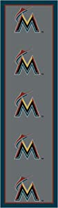 Florida Marlins 2 1 x 7 8 Team Repeat Area Rug Runner by Millikans Rugs