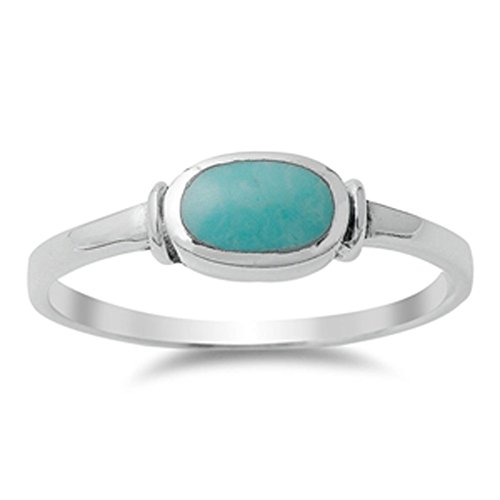 Women's Simple Simulated Turquoise Unique Ring New .925 Sterling Silver Band Size 7 (RNG14147-7)