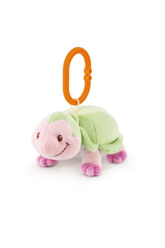 Turdi Squeaker Plus Toy, Green/Pink Turtle, 3 Months Plus
