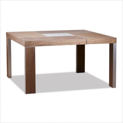 Walnut Modloft Varick Modern Art Square Casual Dining Table with Glass Center Piece