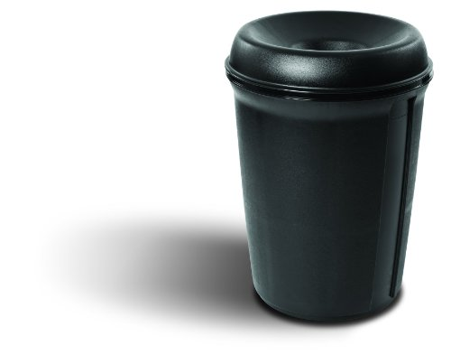"Rubbermaid Commercial Plastic 35-Gallon Classic Atrium Trash Can with Funnel Top, Round, 33.3"" Height, Black at Sears.com"