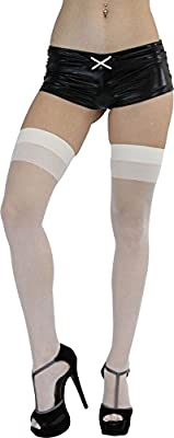ToBeInStyle Women's Pack of 6 Nylon Blend Two Tone Sheer Thigh Hi Stocking