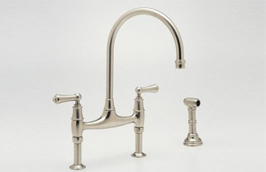 Rohl U.4719L-PN-2 Perrin and Rowe Bridge Style Kitchen Faucet with Sidespray, Polished Nickel