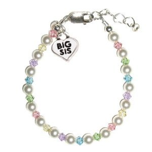 Big Sis - Multicolor Sterling Silver Childrens Girls Bracelet Childrens Big Sister freshwater pearls and multi-color crystals w/