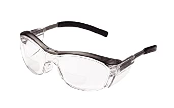 3M Nuvo Reader Protective Eyewear, 11435-00000-20 Clear Lens, Gray Frame, +2.0 Diopter  (Pack of 1)