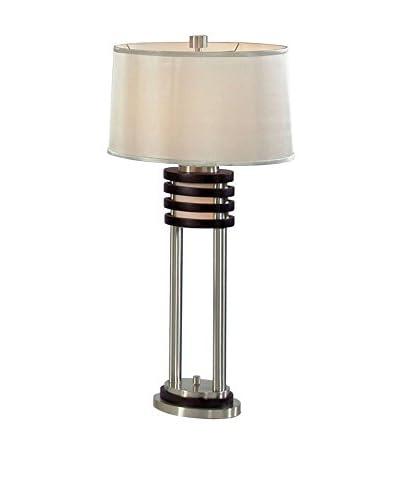 Nova Lighting Kobe 2-Light Table Lamp, Dark Brown/Brushed Nickel