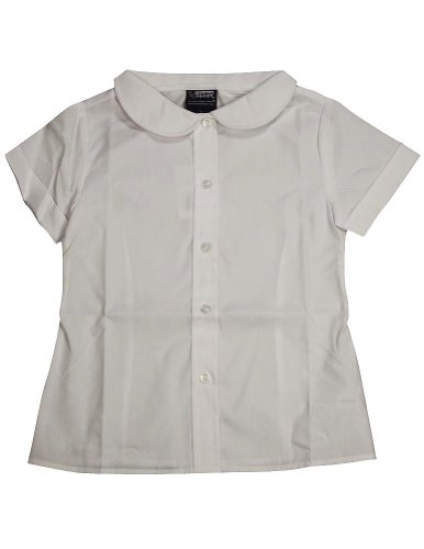 French Toast - Big Girls' Plus Short Sleeve Peter Pan Blouse, White 33154-12.5Plus front-909359