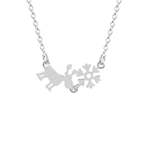 T400 Jewelers 925 Sterling Silver Snowflake Elk Luxury Pendant Necklace,16