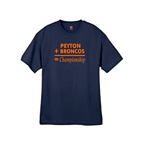 Mens Peyton + Broncos Navy Blue T Shirt Size X-large