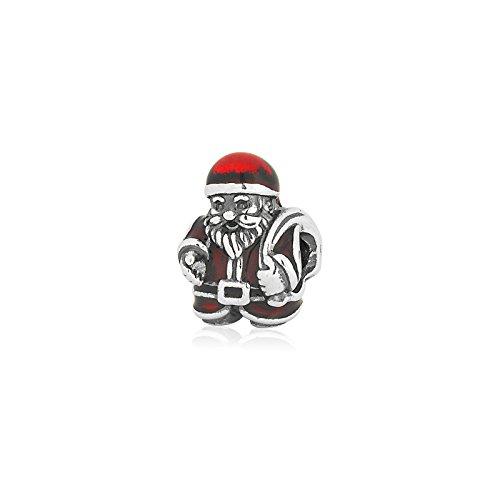 Pandora Father Christmas Charm in 925 Sterling Silver w/Red & Black Enamel, 791231ENMX