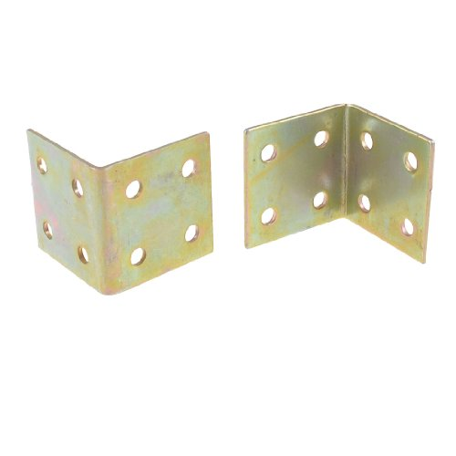 uxcell Shelf Door 34mm x 33mm x 33mm 90 Degree 8 Hole Corner Brackets Brass Tone 2 Pcs (Brass L Bracket compare prices)