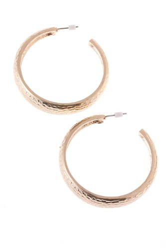 The Jewel Rack Textured Hoop Earrings (Matted Gold)