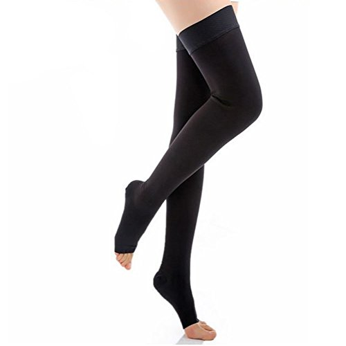 ctk-compression-stockings-thigh-high-microfiber-open-toe-medical-tight-socks-20-30mmhgblackmedium