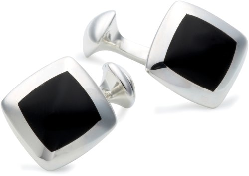 Onyx Square Cufflinks, Silver, Model 8.74.0642