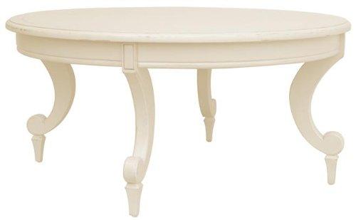 New Coffee Table White/Cream Painted Hardwood Round Siena