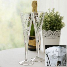 Personalized Galway Irish Crystal Champagne Flutes from the Mystique Romance Collection (Set of 4)