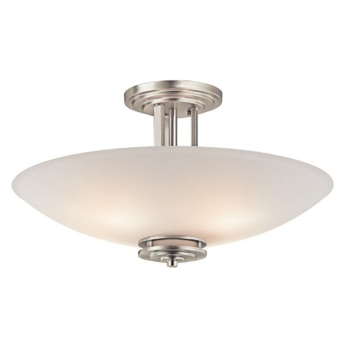 3677NI Hendrik 4LT Semi-Flush, Brushed Nickel Finish with Etched White Glass