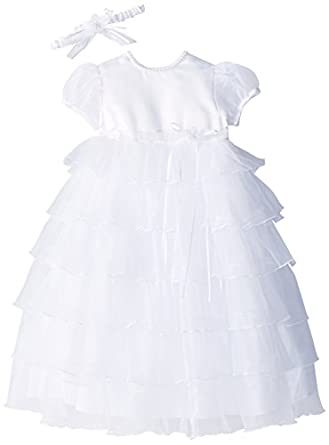 16bd22596 Lauren Madison baby girl Christening Baptism Multi Tiered Gown With Satin  Bodice