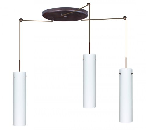 Besa Lighting 3Jw-722407A-W3-Sn Stilo 16 Collection 3-Light Pendant, Satin Nickel Finish With Opal Matte Art Glass Shade And Satin Nickel Straight Wireform Cage A
