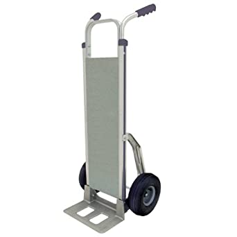 "RWM Casters Aluminum Fixed Hand Truck with Dual Grip Vinyl Handle and Aluminum Deck, Pneumatic Wheels, Extruded Aluminum Nose Plate, 500 lbs Load Capacity, 48"" Height, 14"" Width x 9"" Depth"
