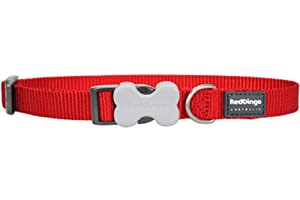 Red Dingo Classic Dog Collar, Medium, Red